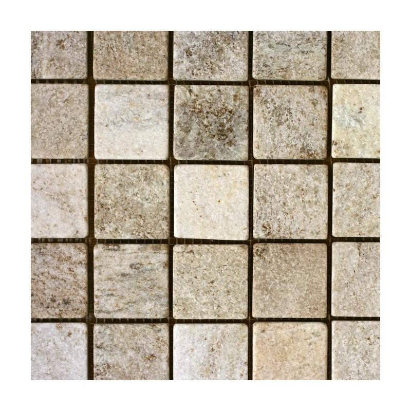 Křemenec - Quartzite, krémový, opalovaný-mozaika